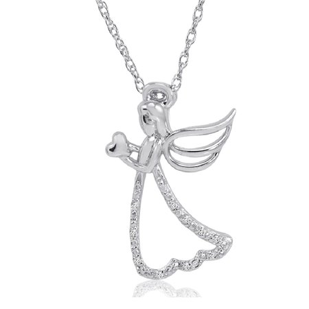 Angel with Heart Diamond Pendant-Necklace in Sterling Silver on an 18in. Chain Angel Sterling Silver Keychain