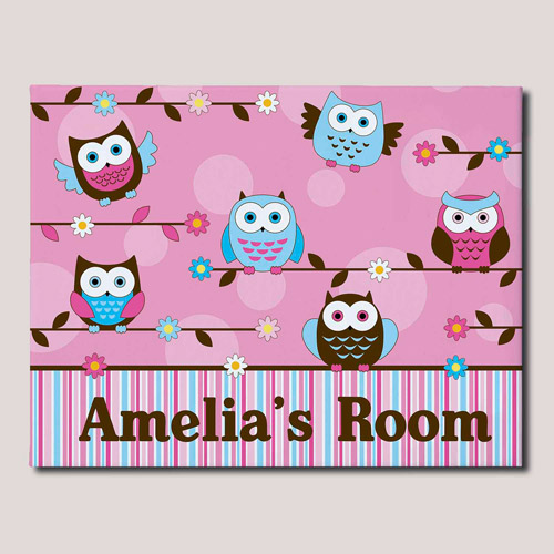 "Personalized Colorful Owl Canvas, 16"" x 20"""
