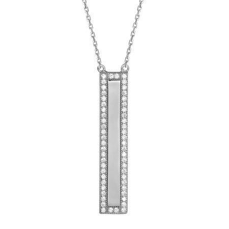 Sterling Silver Bar Design Pendant Simulated Diamond 18 Inch Necklace Womens Unique
