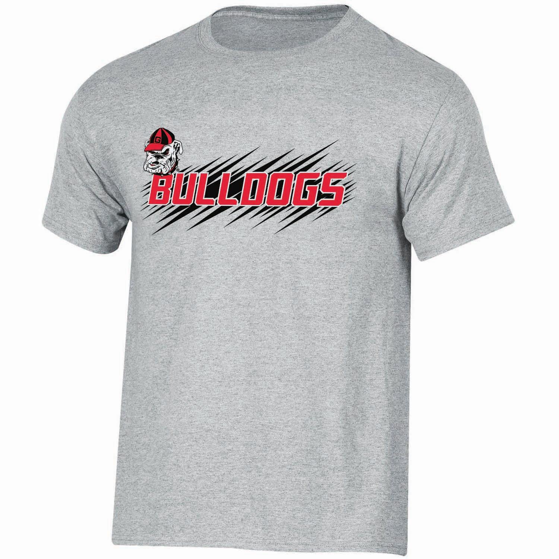 Youth Russell Gray Georgia Bulldogs Puff Ink Crewneck T-Shirt