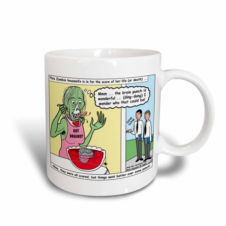 3dRose Halloween - Zombie Punch and the Religious Visitors, Ceramic Mug, - Halloween Punch With Sherbet