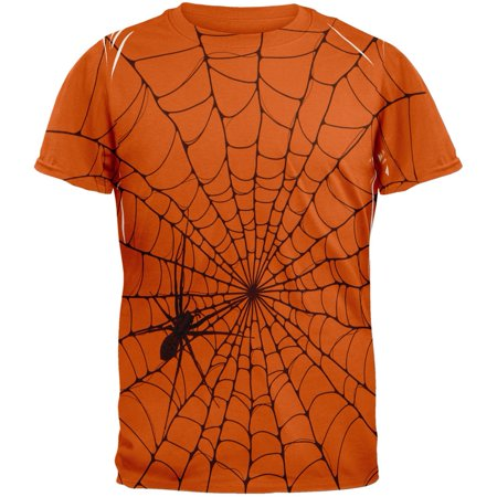 Halloween Giant House Spider Spider Web All Over Texas Orange Adult T-Shirt - Texas Halloween