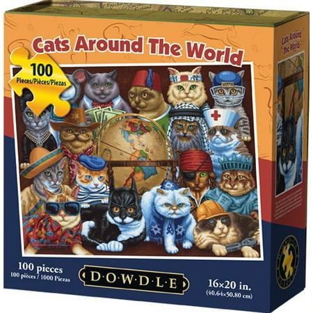 Dowdle Jigsaw Puzzle - Cat's around the World - 100 - Blank Puzzle Pieces Michaels