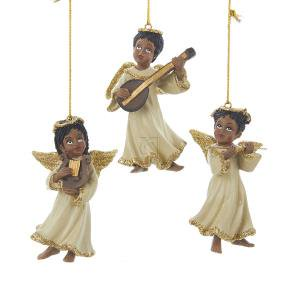 1 set 3 assorted resin african american angel with instruments christmas ornaments