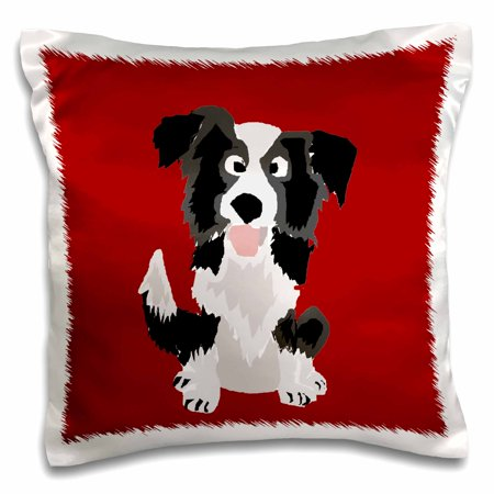 3dRose Funny Border Collie Puppy Dog Art - Pillow Case, 16 by 16-inch