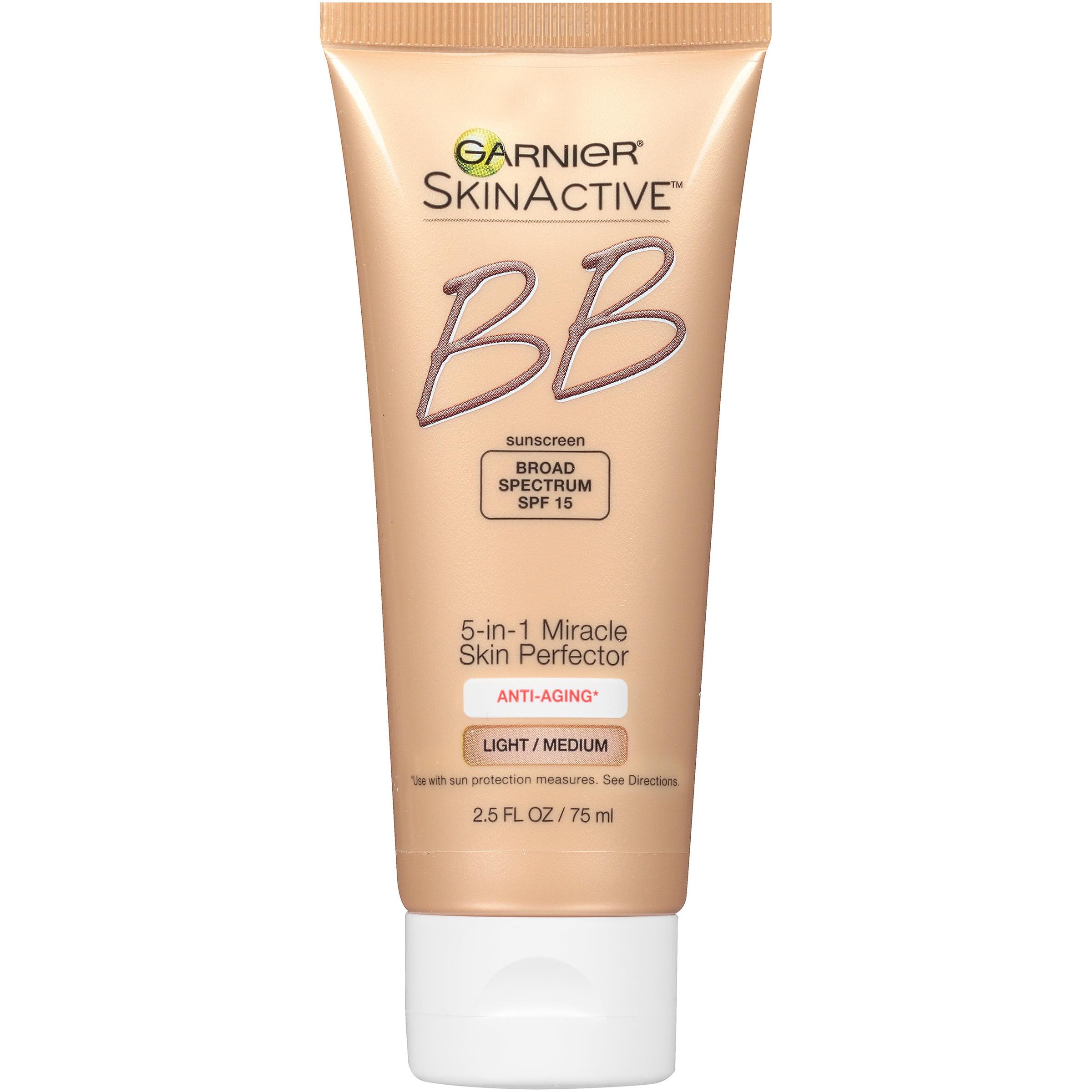 Garnier SkinActive 5-in-1 Miracle Skin Perfector BB Cream Light/Medium for Anti-Aging with SPF 15 2.5 fl. oz. Box