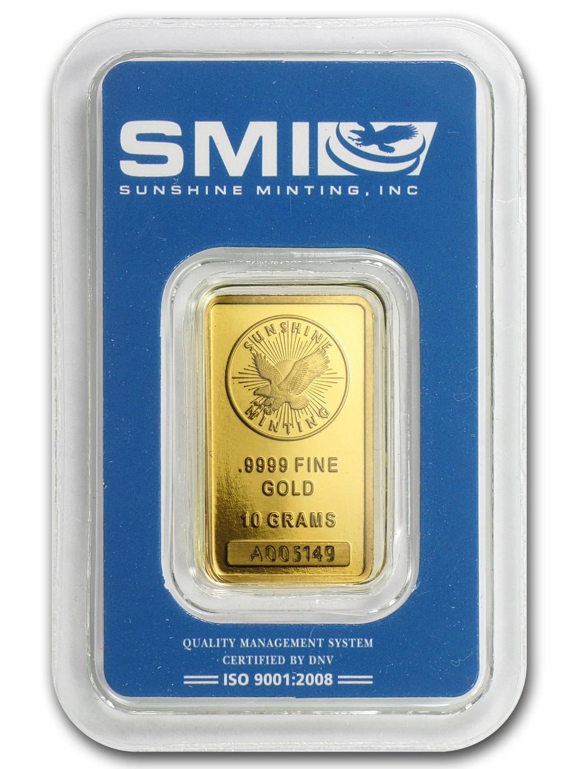 10 gram Gold Bar - Sunshine Minting New Design (In TEP Packaging)