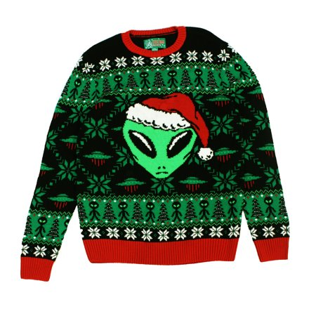 Horrible Christmas Sweaters.Ugly Christmas Sweaters Unisex Alien Santa Hat Led Light Up Sweater