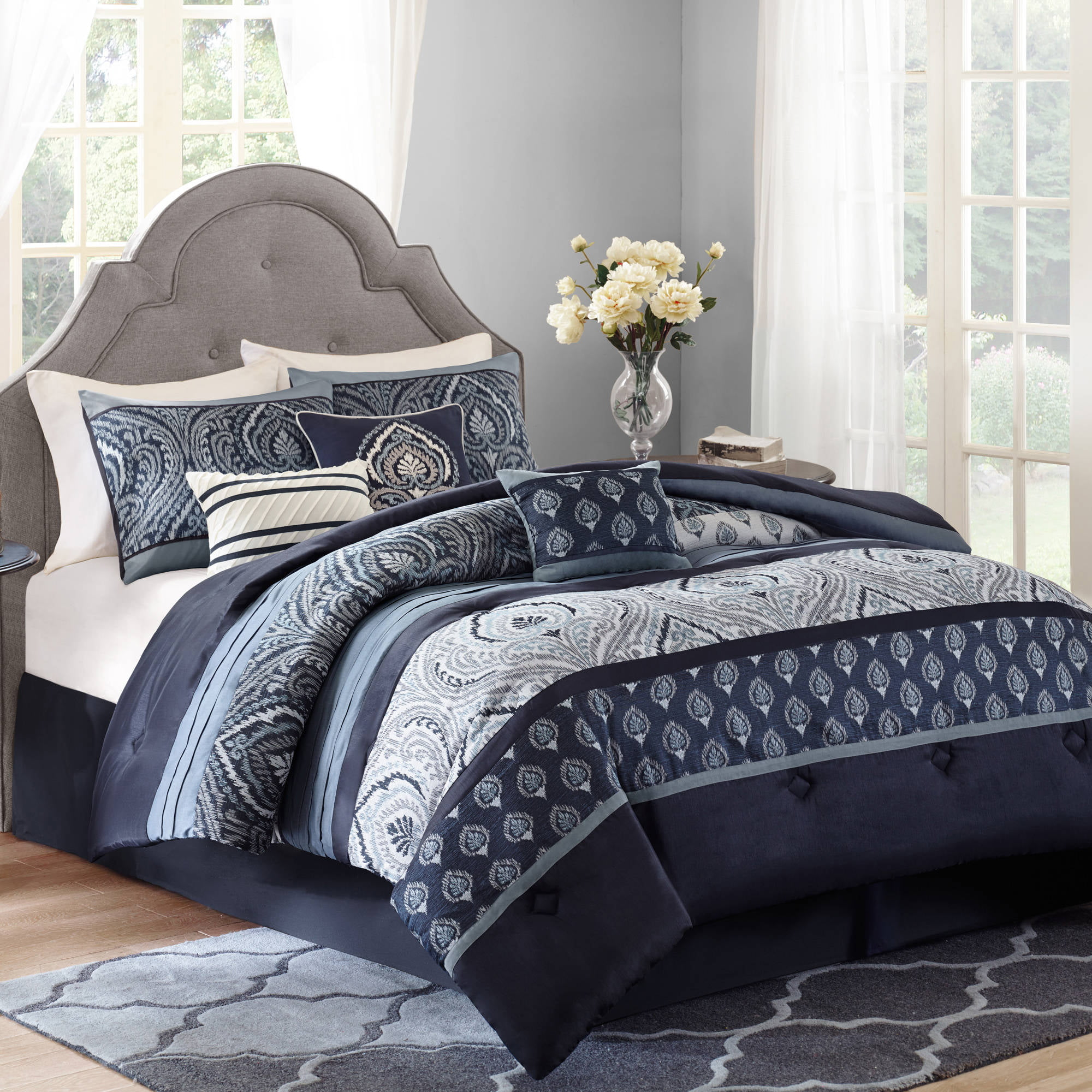 Blue bedspreads and comforters - Better Homes And Gardens Indigo Paisley 7piece Bedding Comforter Set Walmartcom