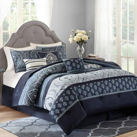 Better Homes and Gardens Indigo Paisley 7-Piece Bedding Comforter Set