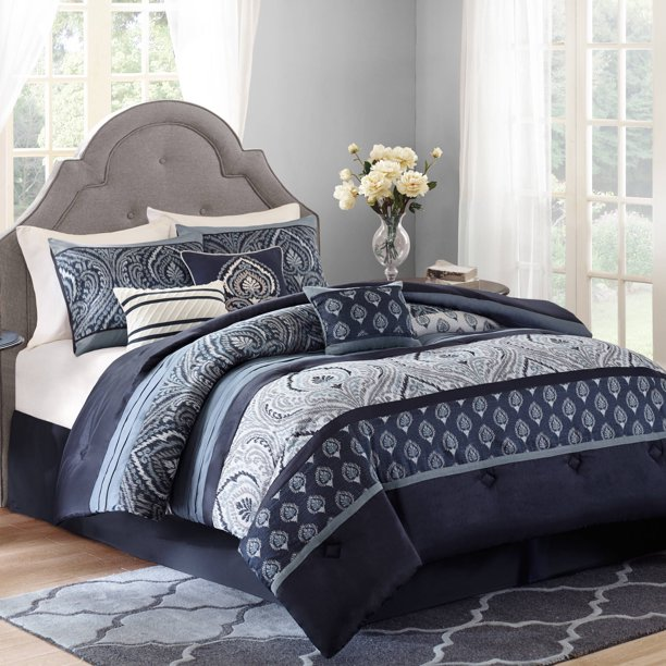 Better Homes Gardens Full Paisley Indigo Comforter Set 7 Piece