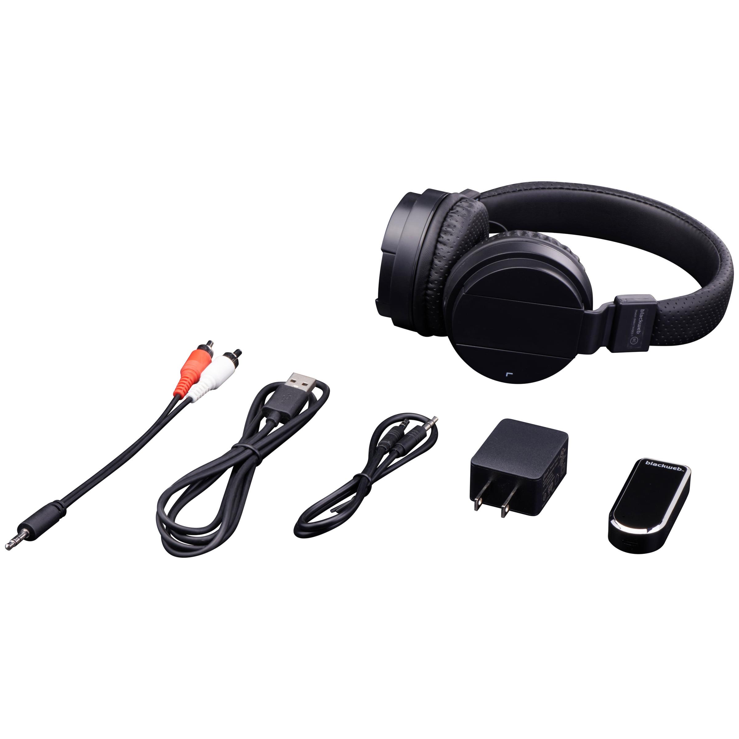 Blackweb Wireless On Ear Rechargeable Headphones With Bluetooth Audio Transmitter Black New Open Box Walmart Com Walmart Com