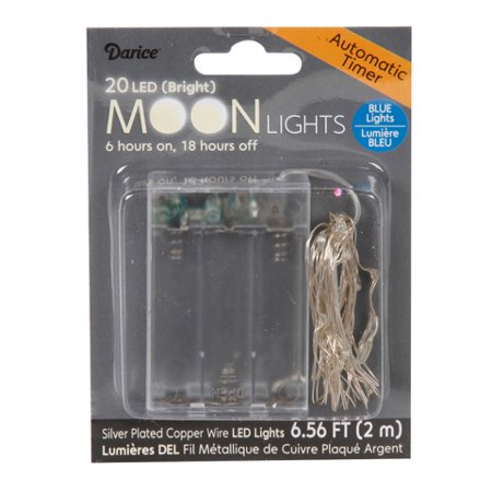 Moon Lights - 20 LED Blue Lights with Timer - Silver Plated Blue Moon Silver Bars