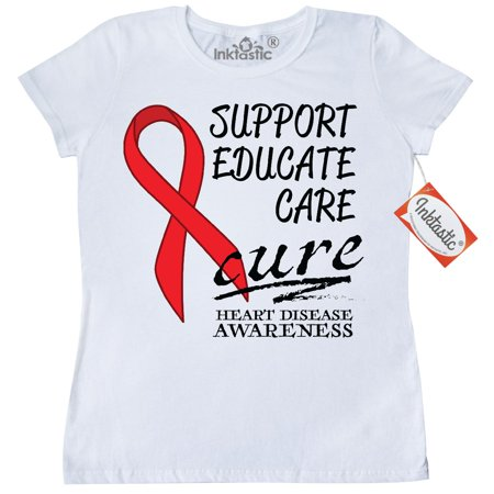 Inktastic Support  Educate  Care  Cure  Heart Disease Awareness Womens T Shirt February Circulatory System Prevent Health Promote Month Charity Walk Hospital Donate Clothing Apparel Tees Adult