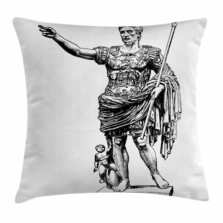 Toga Party Throw Pillow Cushion Cover, Antique Statue of Augustus Vintage Ancient Historical King Emperor Figure Print, Decorative Square Accent Pillow Case, 18 X 18 Inches, Black White, by - Toga Party Ideas
