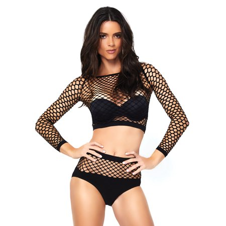- Women's 2 PC Industrial Net Long Sleeve Crop Top and Opaque Bottom, Black, O/S
