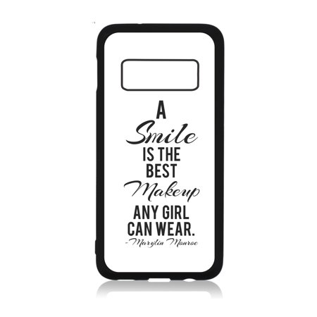 Smile is the Best Makeup Quote Black Rubber Case Cover for the Standard Samsung Galaxy s10 - Samsung Galaxy s10 Accessories - Samsung Galaxy s10