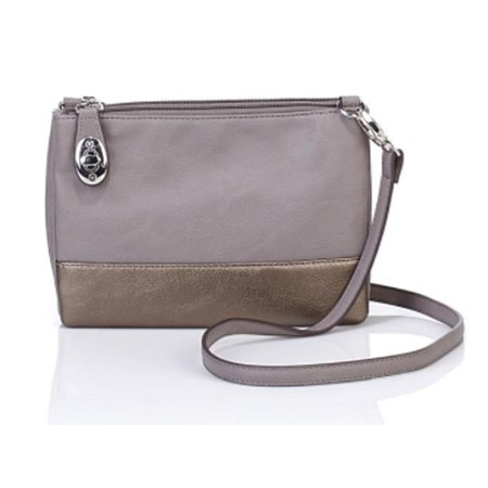 TravelSmith Womens RFID-Blocking Convertible Crossbody Bag ~Silver/Bronze