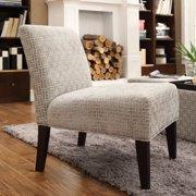 Weston Home Gray Bracket Chain Print Fabric Lounger Chair - Rich Espresso