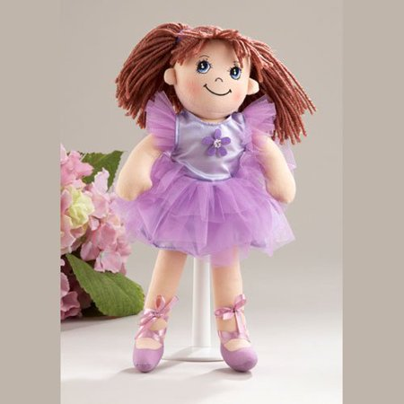 Yarn Dill (Delton Products Ballerina Doll Soft Cloth Doll with Purple Removable Clothes, Yarn Hair, 14