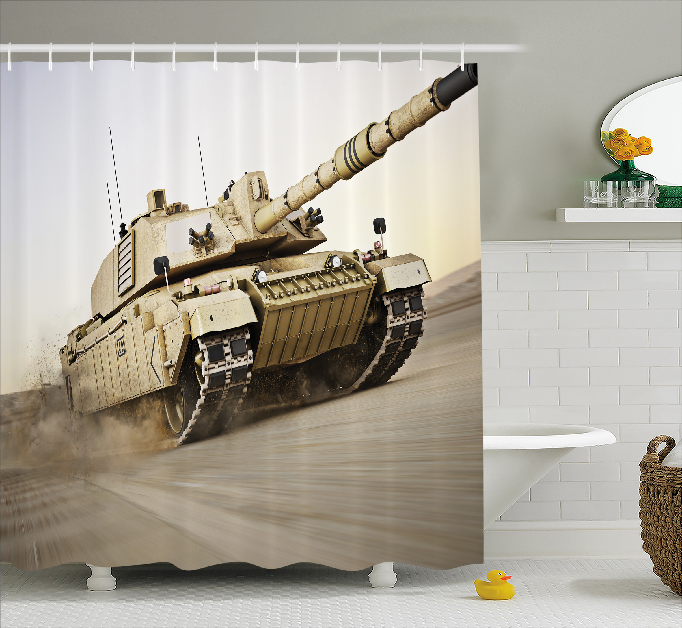 War Home Decor Shower Curtain, Military Tank Moving Speed...
