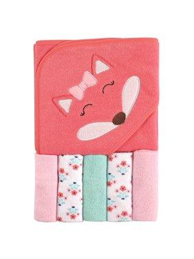 Baby Hooded Towel with 5 Washcloths, Girl Fox