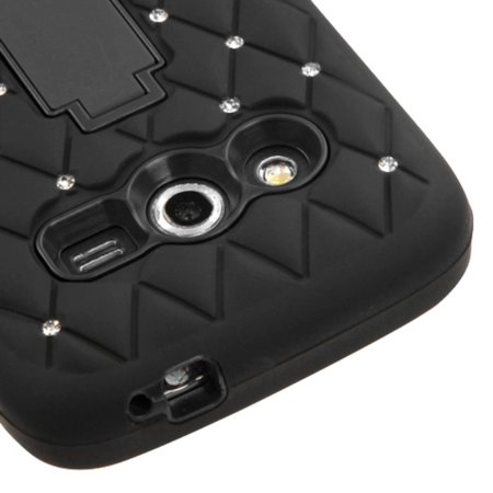 Insten Symbiosis Soft Dual Layer Rubber Hard Cover Case w/stand/Diamond For Samsung Galaxy Avant - Black - image 3 de 4