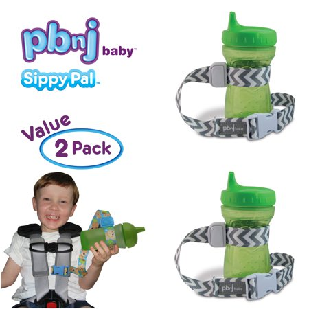 PBnJ Baby SippyPal Sippy Cup Holder Strap Leash Tether (Gray Chevron