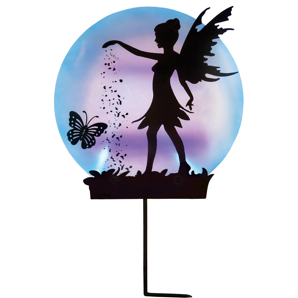 Solar Fairy Silhouette Garden Decor Yard Stake with Light-Up Moon - Outdoor Use with Acrylic, Metal & Plastic Materials, Black