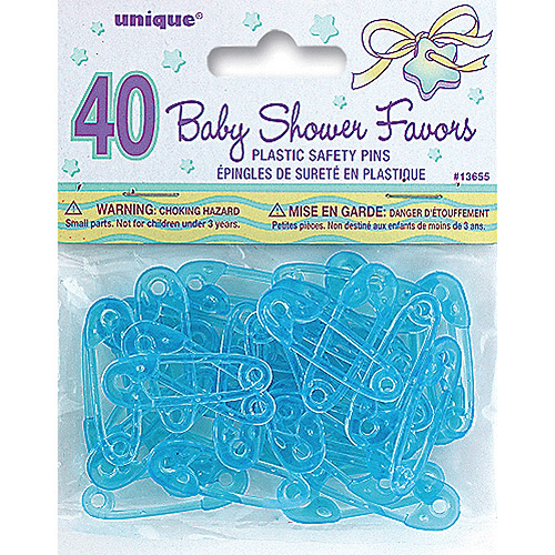 Mini Plastic Safety Pin Baby Shower Favor Charms, 1.5 in, Blue, 40ct