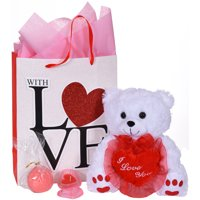 Women's Valentine's Day Teddy Bear Bath Bomb & Heart Shaped Candle Holder Premium Gift Bag