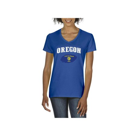 Oregon State Flag Women V-Neck T-Shirt