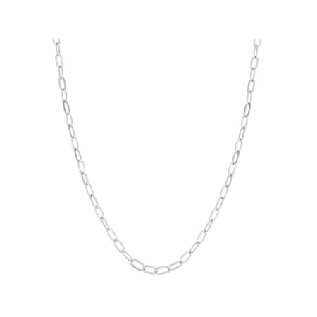 Silver Plated Plain Link Chain Women's Necklace (Silver Plated Flat Link)