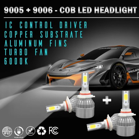 Wideskall® 9005 + 9006 OSRAM COB LED Headlight Bulb Conversion Kit 6000K White Hi-Lo