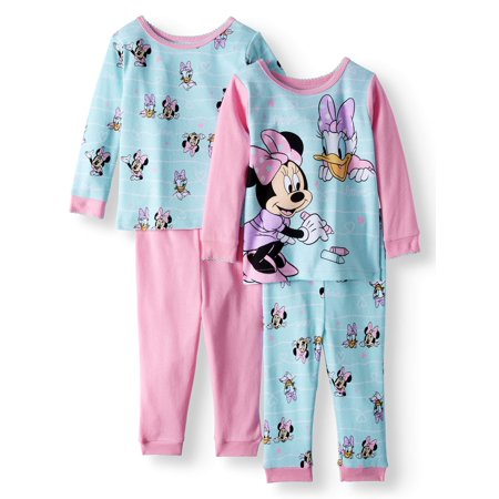 Minnie Mouse Cotton Tight Fit Pajamas, 4-piece Set (Baby Girls)