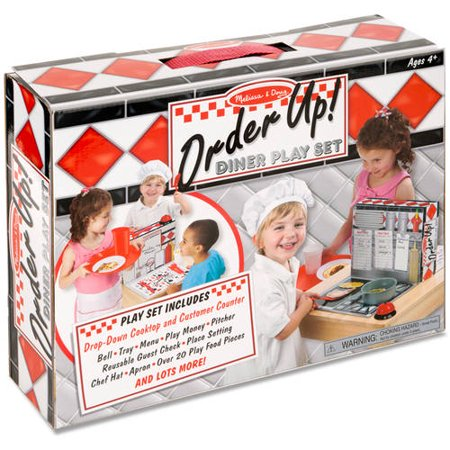 Melissa & Doug Order Up! Diner Play Set with Play Food (53 pcs) - Be Cook, Server, or Customer - Walmart Custome
