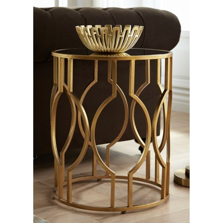 55 Downing Street Fara 20 Wide Gold And Mirrored Top Round End Table