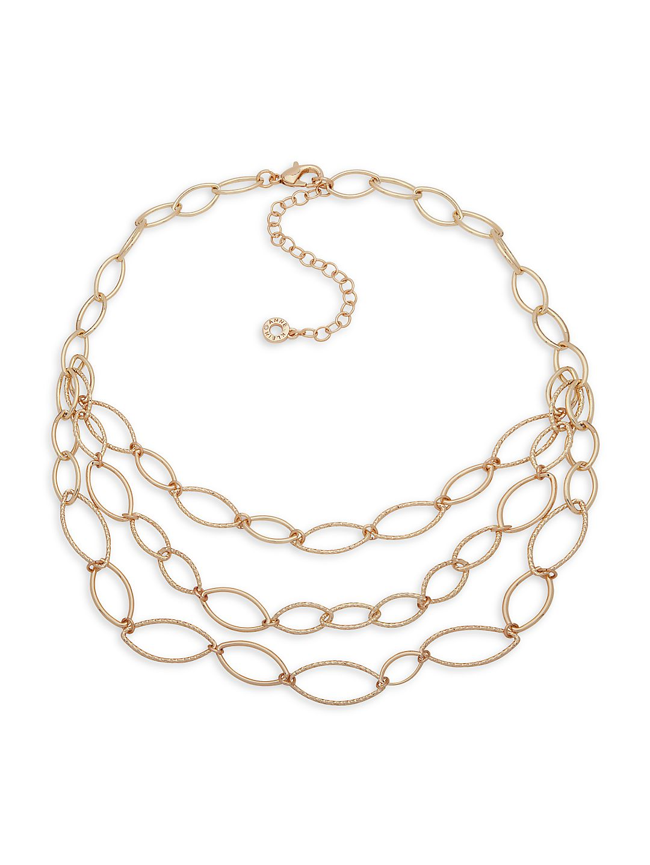 Goldtone Multi-Strand Chain Necklace