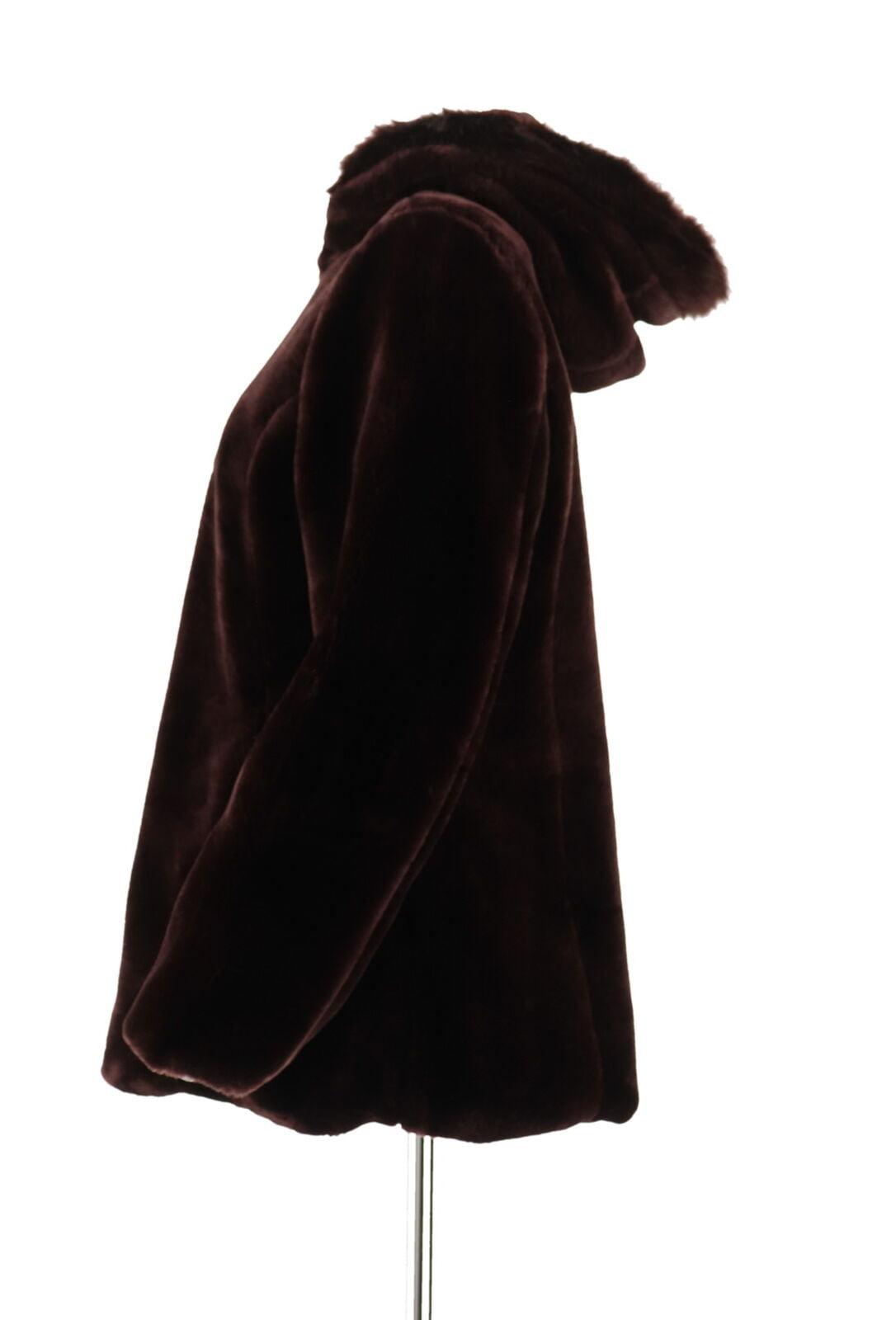 Susan Graver Cozy Faux Fur Zip Front Jacket Trimmed Hood Pinot XL NEW A283650