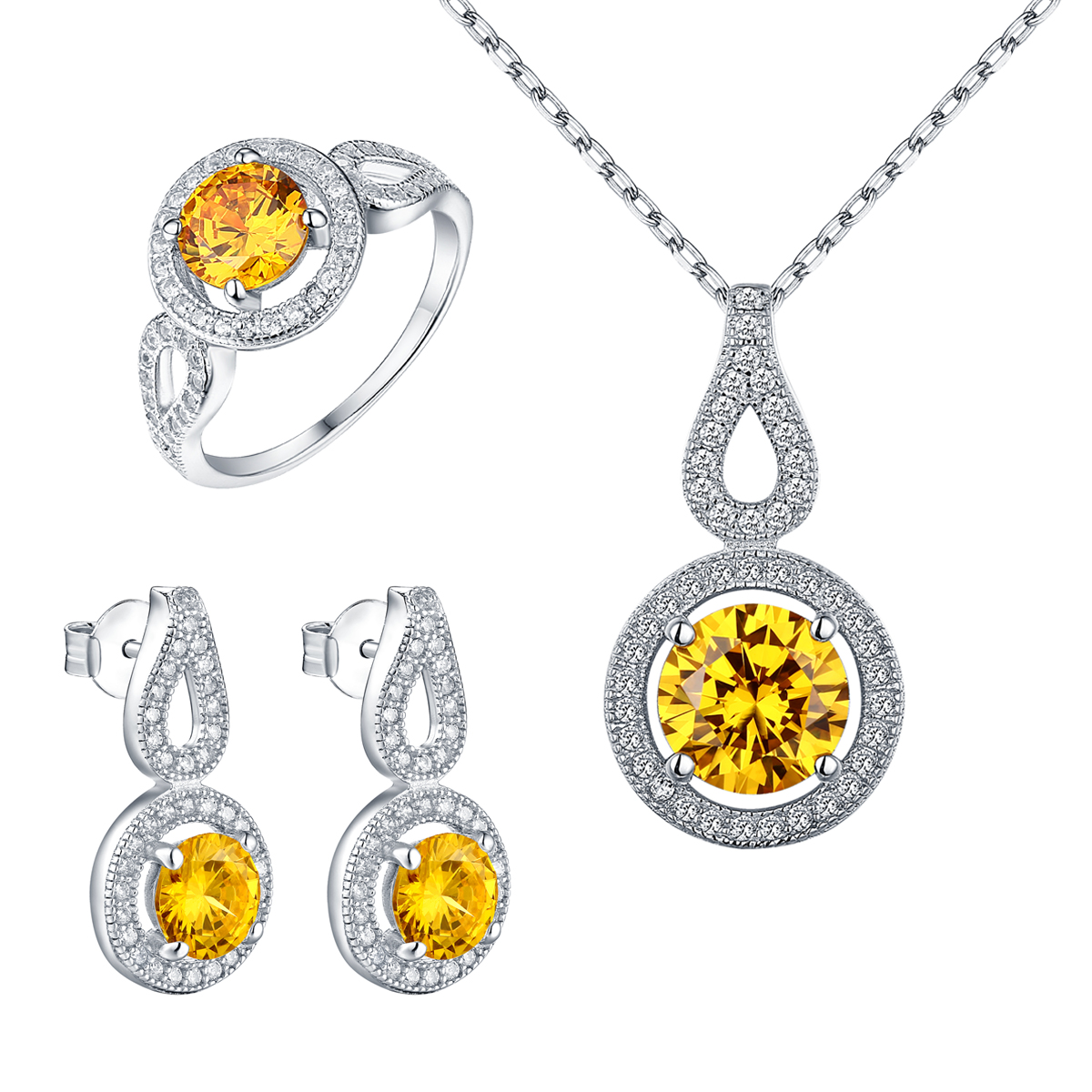 Canary Solitaire Pendant Earrings Set Necklace Ladies Ring Bridal 925 Silver CZ
