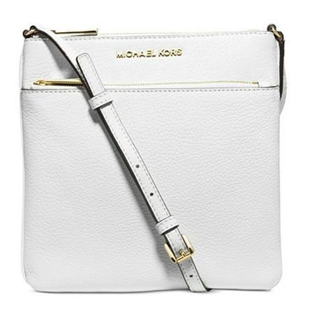 45acaa571b9d MICHAEL Michael Kors - MICHAEL KORS Riley Optic White Leather Small Flat Crossbody  Handbag - Walmart.com