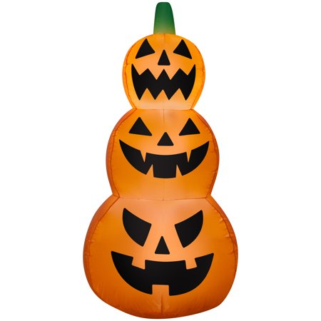 Halloween Airblown Inflatable Jack O Lantern Stack 4FT Tall by Gemmy - Leggenda Jack O Lantern Halloween