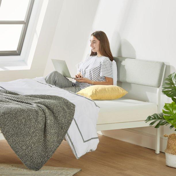 Mellow Kera Metal Platform Bed With Angled Upholstered Headboard Solid Wooden Slats Sky Grey Walmart Com Walmart Com