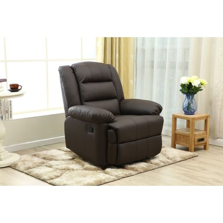 Adba Oversize And Overstuffed Single Seat Faux Leather Recliner Modern Style With Brown Color