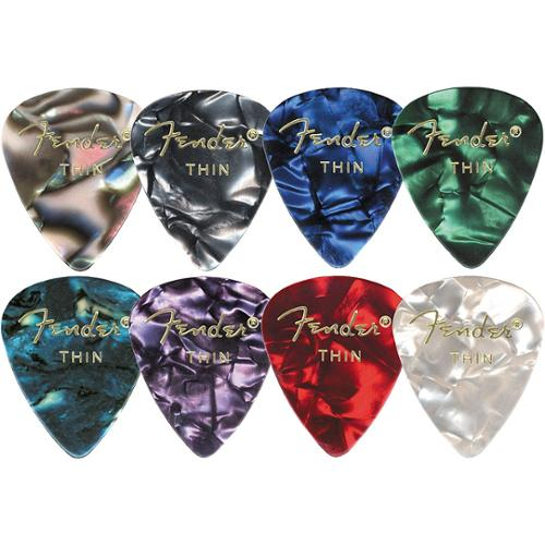 Fender 351 Premium Celluloid Guitar Picks, 12 Pack, Green Moto, -