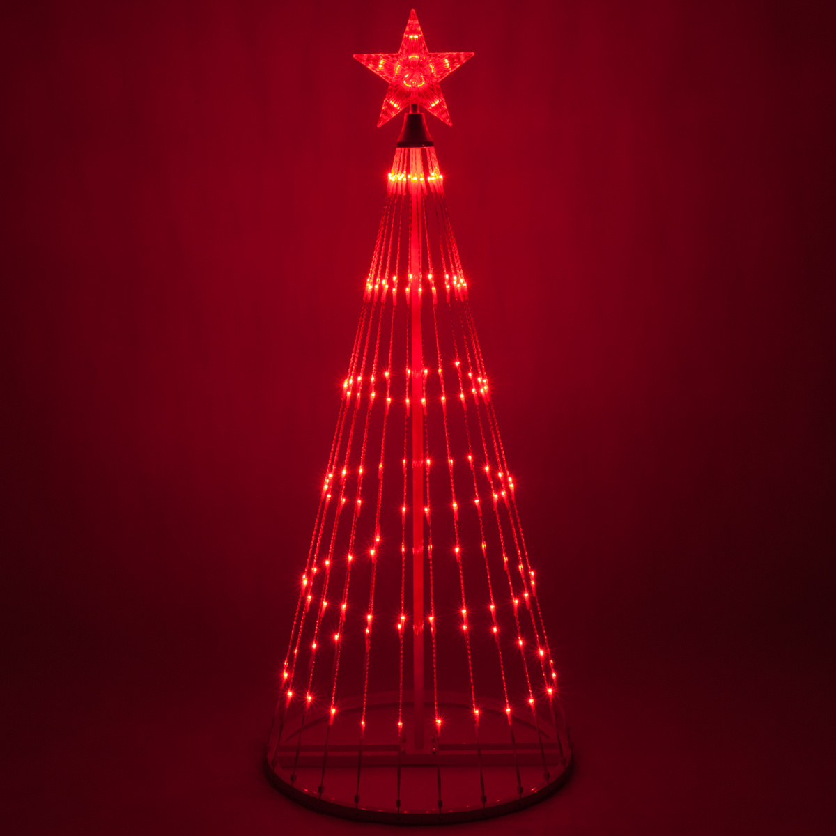 Wintergreen Lighting 6' Red Outdoor Christmas Light Show Cone Tree ...