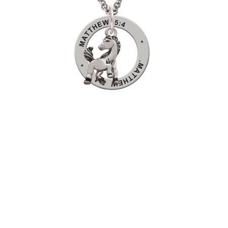 Mustang Mascot (Silvertone Small Mustang - Mascot Matthew 5:4 Affirmation Ring)