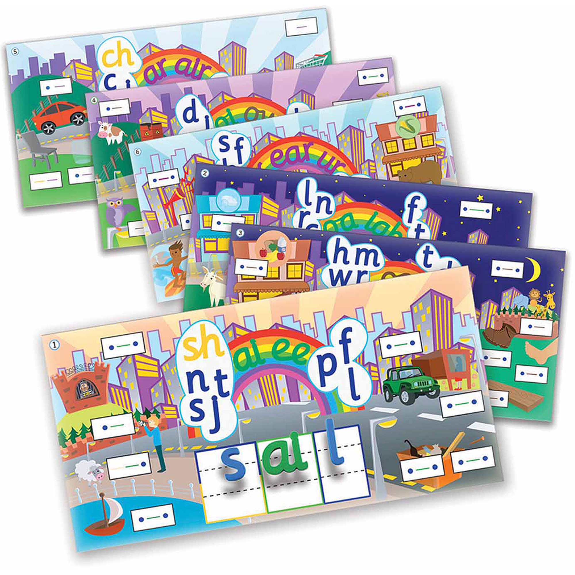 Junior Learning Rainbow Phonics Word City Landscapes, 6 Vibrant Magnetic Learning Landscape Boards