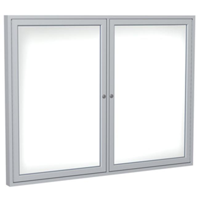 Ghent Manufacturing PN34896M-M1 48 x 96 in. 3-Door Wood Frame Walnut Enclosed Porcelain Magnetic Whiteboard