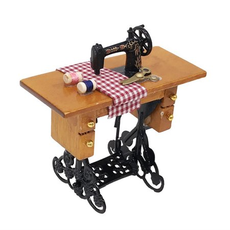 Mini Sewing Machine with Thread For Wooden 1/12 Dollhouse Miniature (Wooden Sewing Machine)